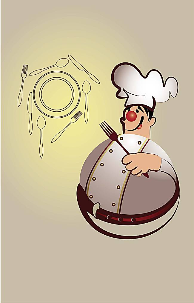 650x1015 Fat Chef And Cutlery Background Material, Chef, Tableware, Cartoon