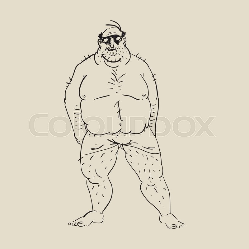 800x800 Cartoon Fat Guy. Hand Drawn Fat Man. Character Stock Vector