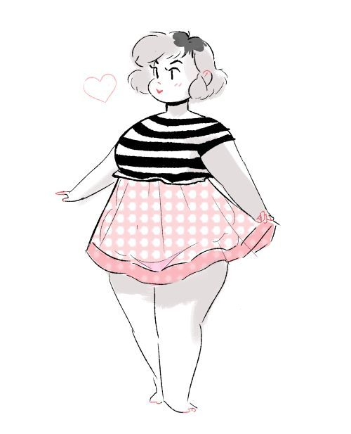 Chubby lady drawing