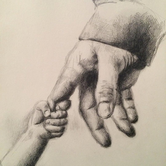 570x570 Father And Daughter Pencil On Paper 6.5 X 10 Drawings