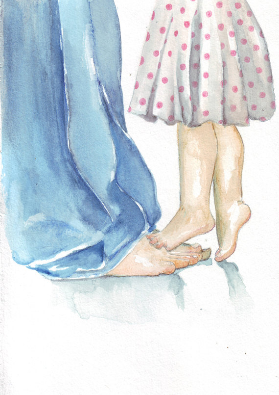570x805 Original Watercolor Painting Father And Daughter Polka By Helgamcl