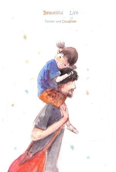406x600 Hermoso Father And Daughter Art Illustration