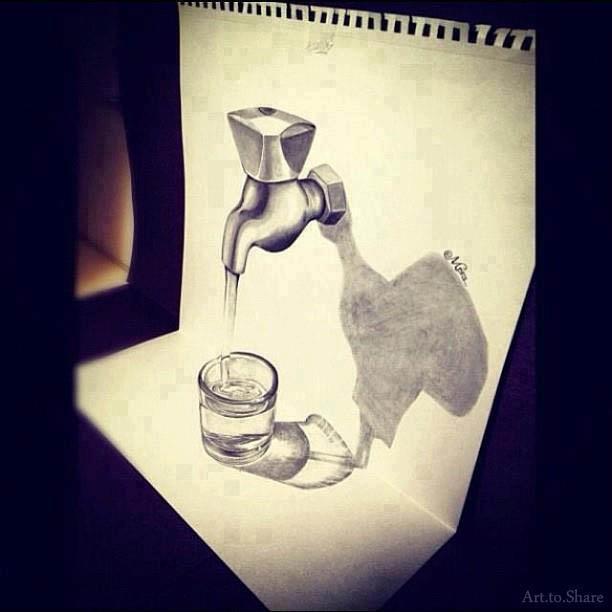 612x612 3d Faucet Drawing In Pencil. Pencil Drawing Faucet