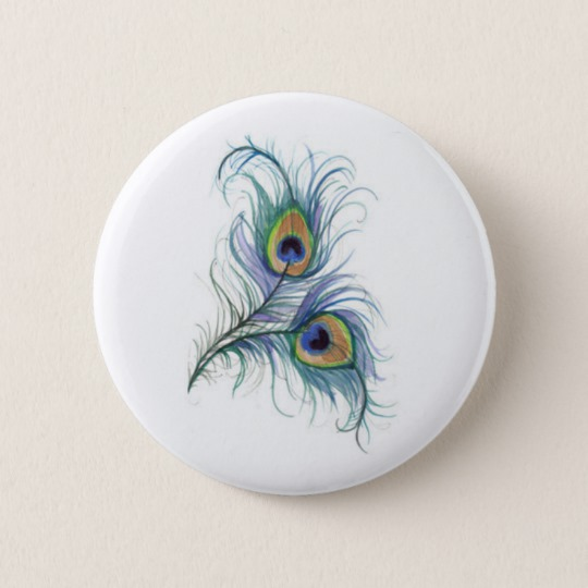 540x540 Twin Peacock Feather Pencil Drawing Button