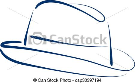 450x276 Fedora Trilby Hat. Sketched Man S Fedora Trilby Hat Isolated