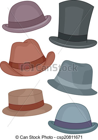 330x470 Illustration Featuring Different Types Of Men's Hats Vectors