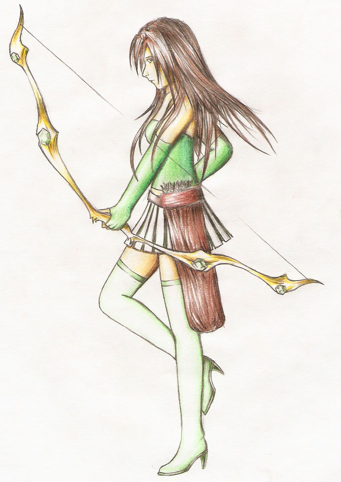 how to draw a female elf archer