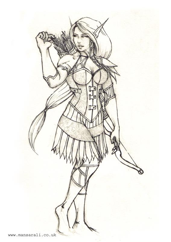 567x804 Female Elf Archer By Mansarali