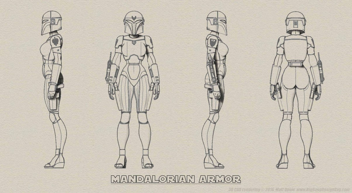 1205x662 Female Mandalorian Armor Turnaround By Ravendeviant