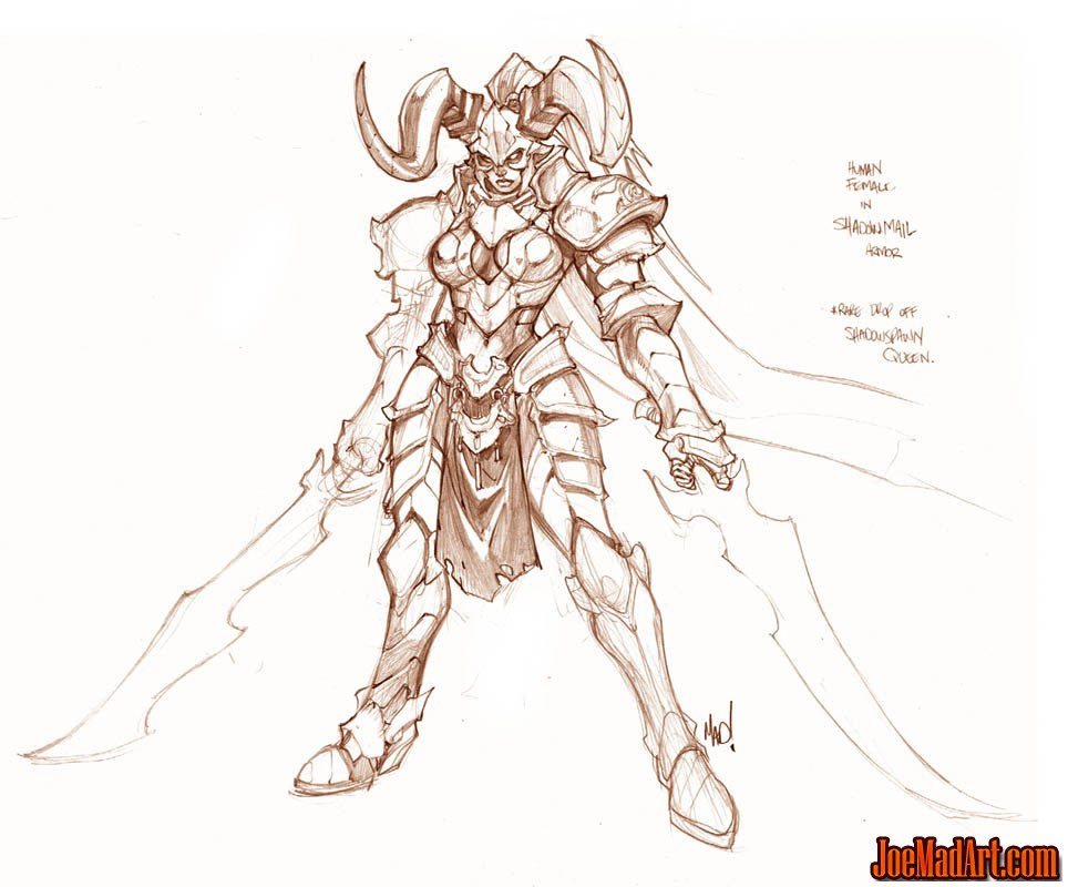 964x800 Human Female In Shadowmail Armor Concept Art