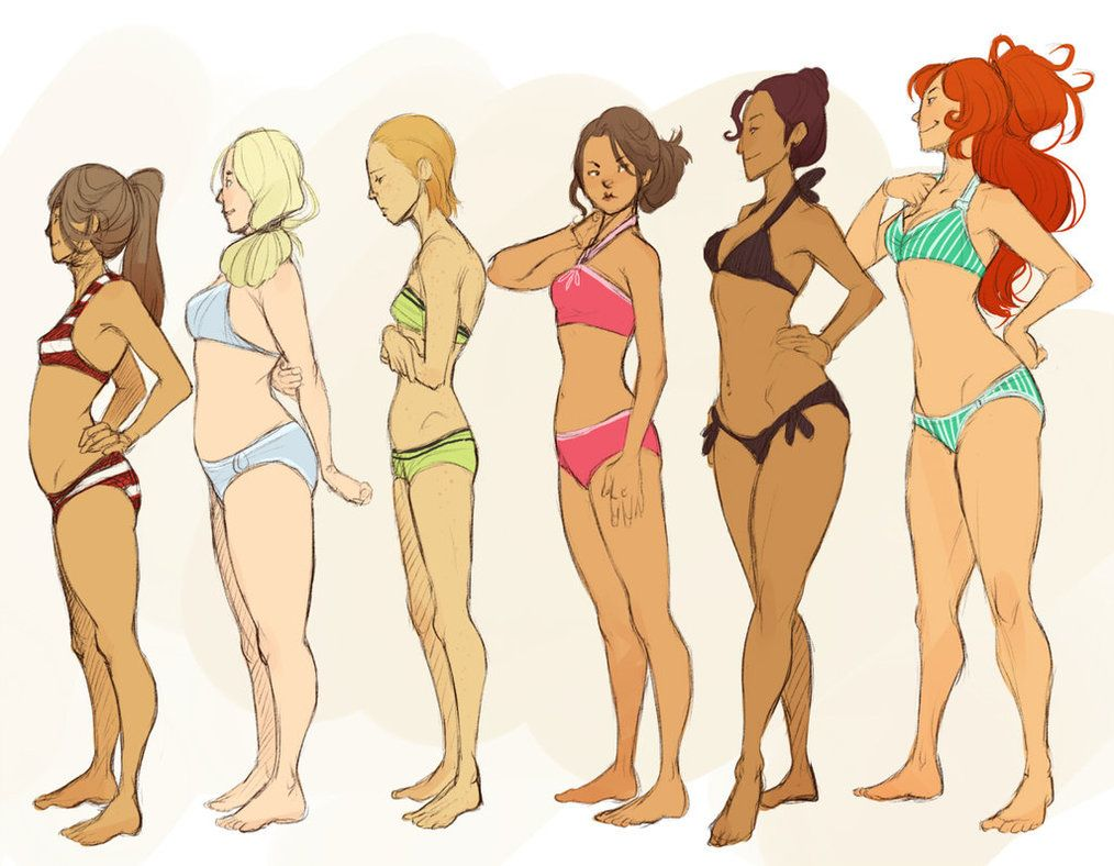1014x788 Sketches Of Ladies Of Different Shapes And Heights