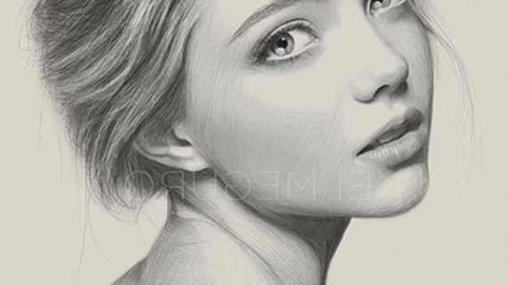 570x320 pencil drawing female face lady face picture pencil