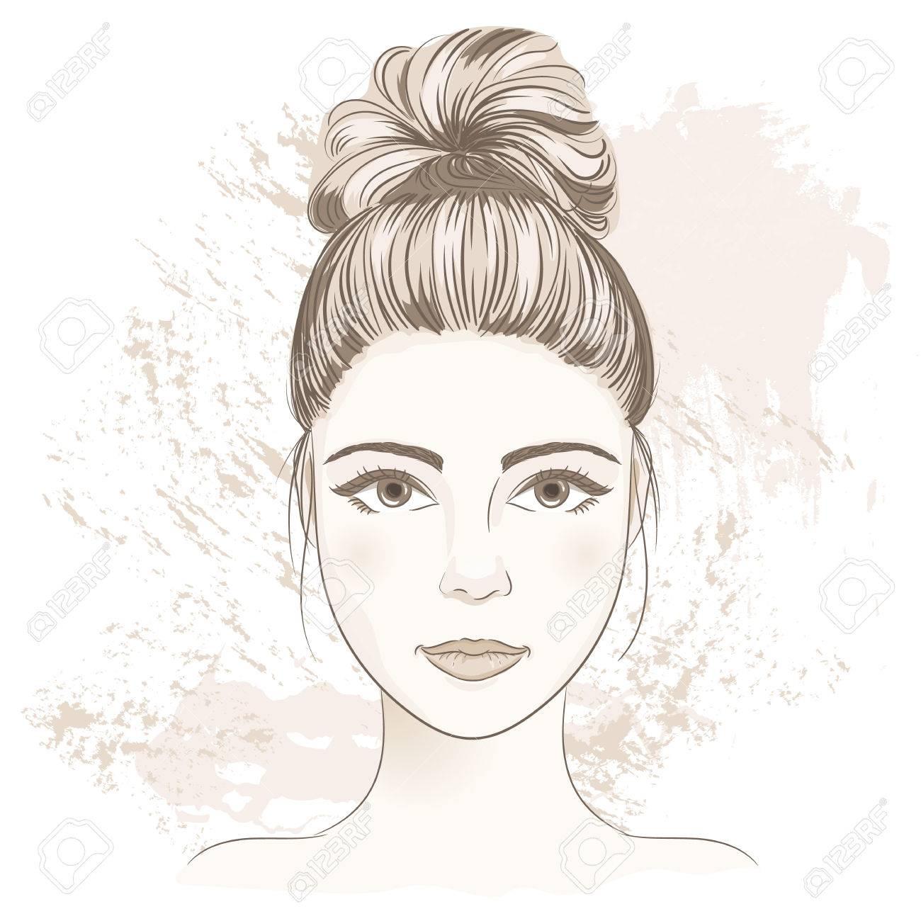 1300x1300 Young Woman Face. Digital Monochrome Sketch Portrait Of Beautiful