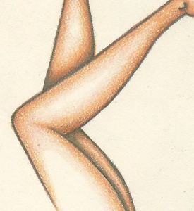 275x300 Legs Nude Female Figure Woman Original Erotic Pencil Drawing Pink