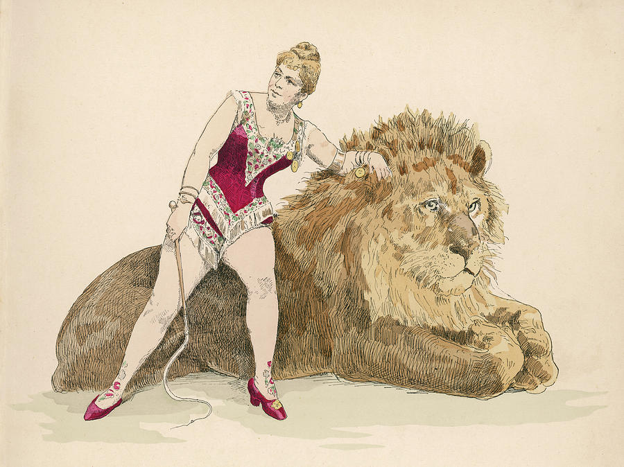 900x674 A Female Lion Tamer Drawing By Mary Evans Picture Library
