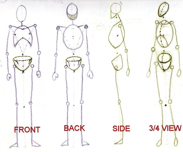 600x498 Drawing Mannequins For Figurative Art. Front, Back, Side And 34