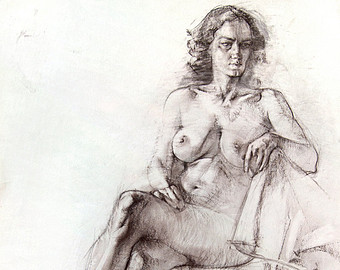 340x270 Nude Woman Drawing Original Nude Female Model Charcoal