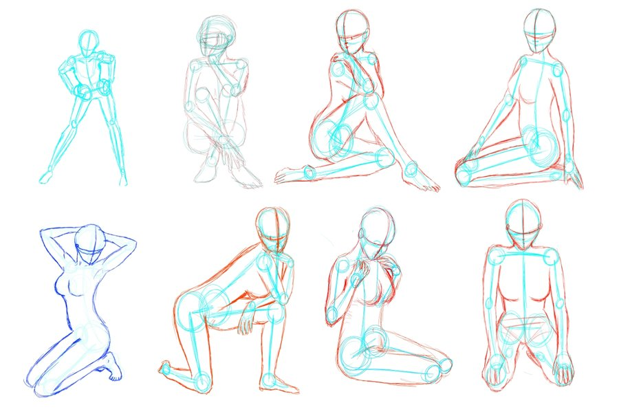 900x602 female poses by scilentor on deviantart