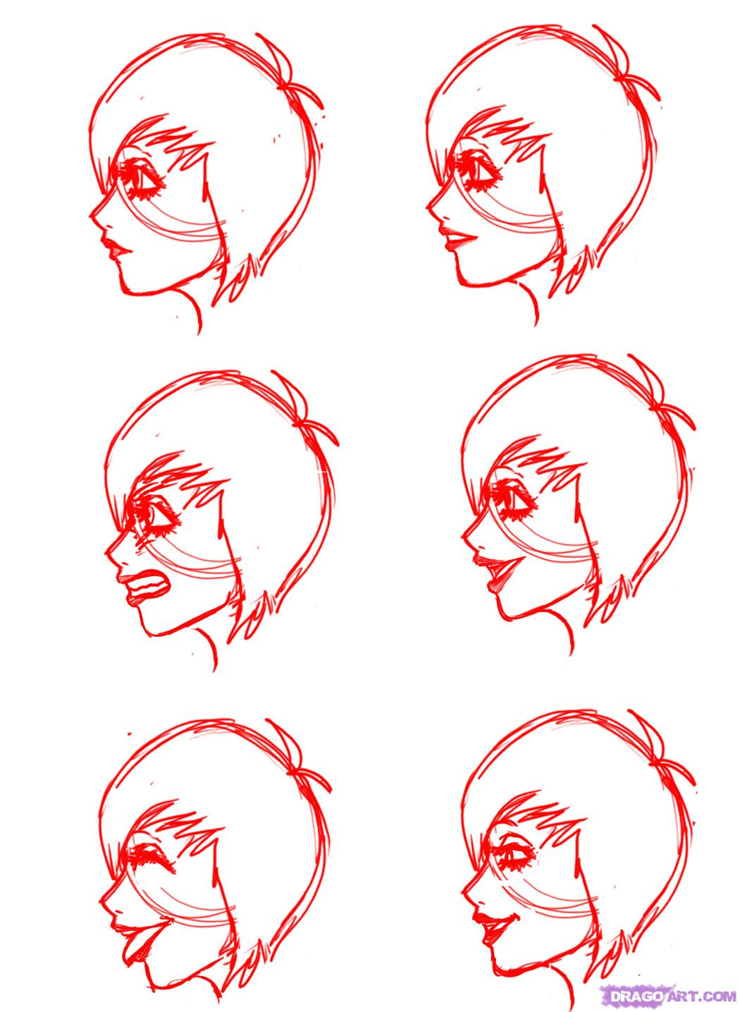 1050x1435 how to draw profile faces and mouths side view step by step