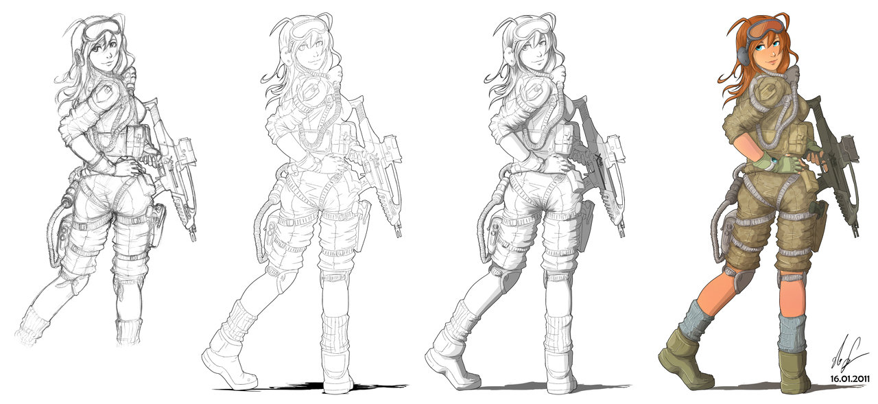 1280x589 Female Soldier 03 Process By Auzzymo