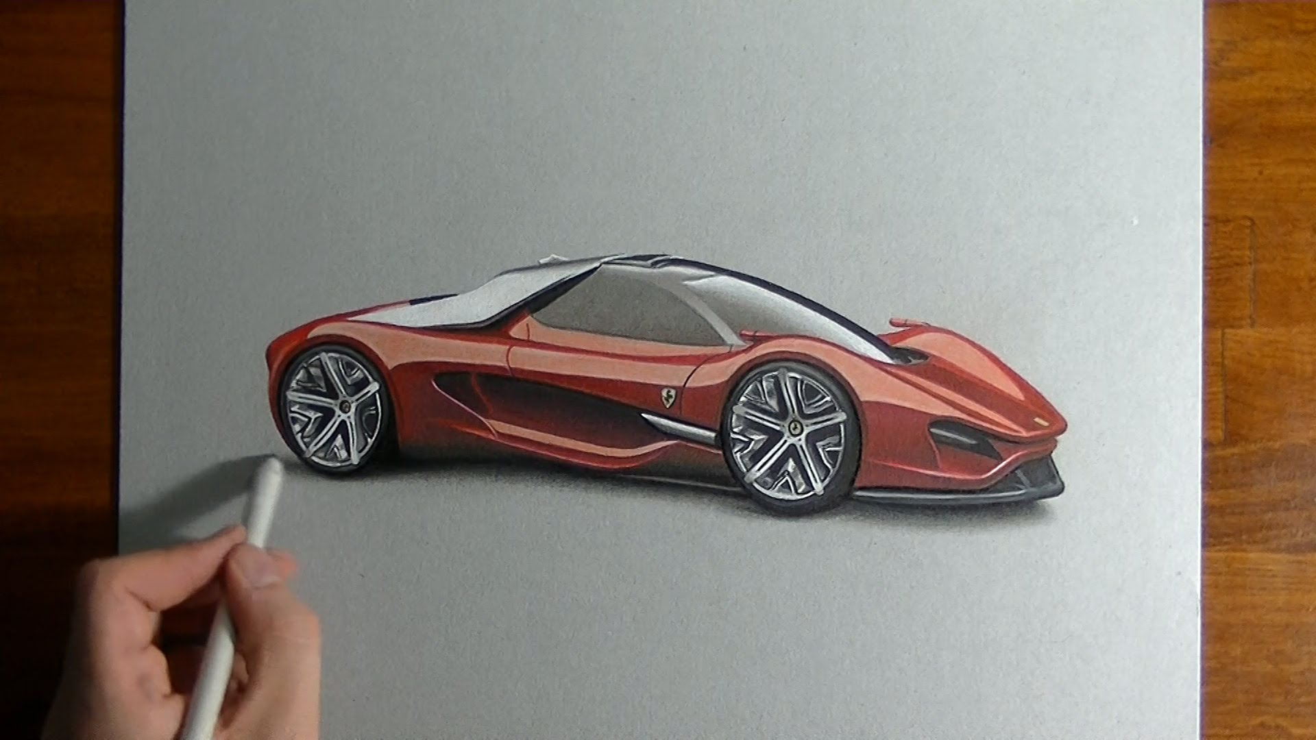 1920x1080 Ferrari Car Drawing 3d Drawing Time Lapse An Amazing Ferrari
