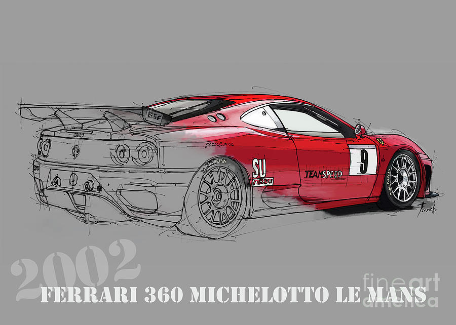 900x642 Ferrari Michelotto Race Car. Handmade Drawing. Number 9 Le Mans