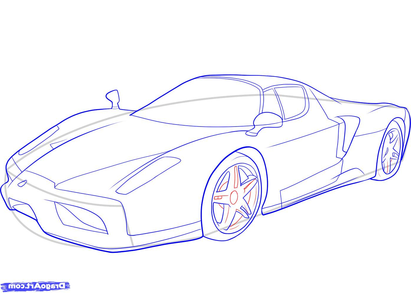 1389x991 Ferrari Car Drawing 3d How To Draw A Ferrari With Colors