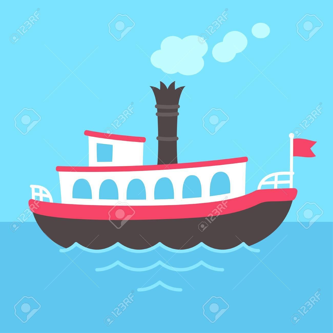 1300x1300 Cute Cartoon Retro Riverboat Drawing. Classic American Passenger