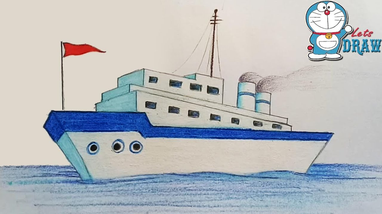 1280x720 How To Draw A Ship Step By Step (Very Easy)