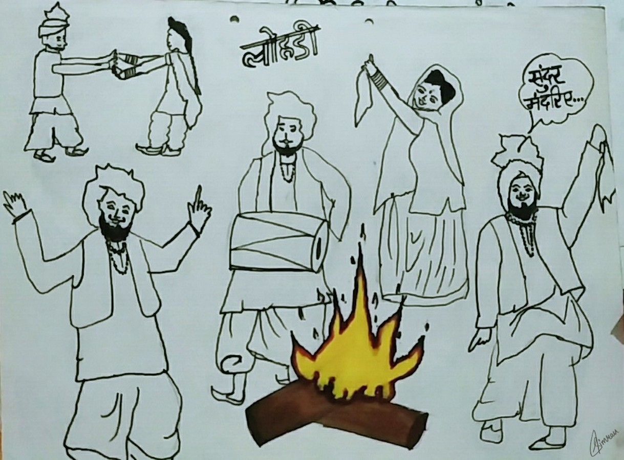 1219x900 Celebrating Lohri Festival Colored Drawing Drawing Skill