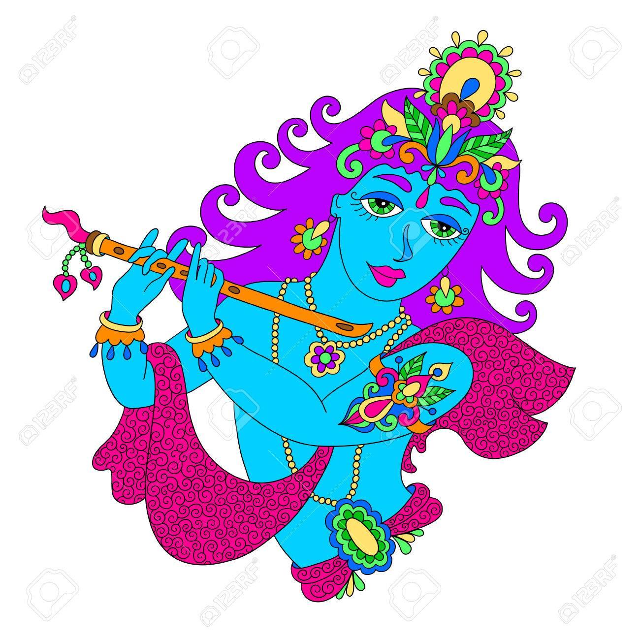 1300x1300 Drawing Of God Lord Krishna For Janmashtami Festival, Vector