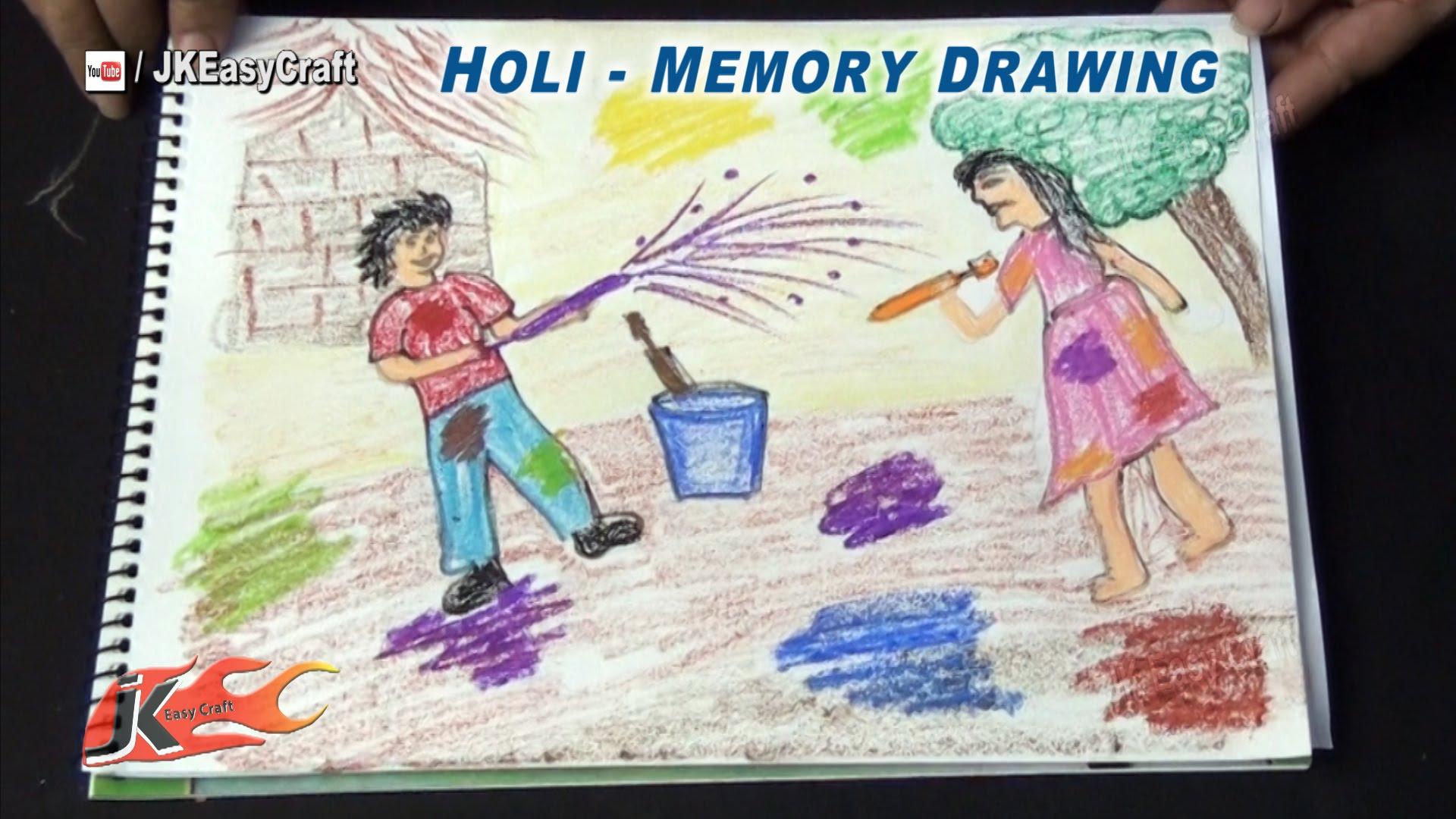 1920x1080 Holi Festival Memory Drawing School Project For Kids Jk Easy