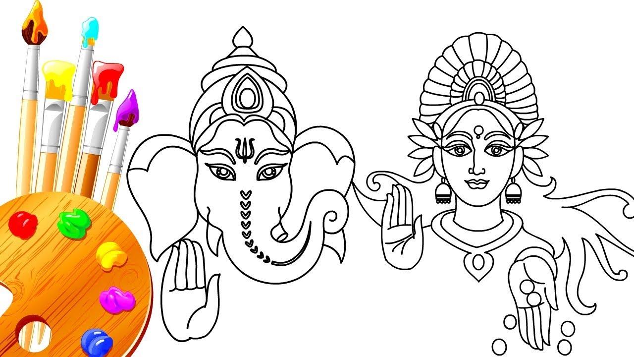 1280x720 How To Draw Lord Maa Laxmi Pujan Amp Ganpati Bappa Diwali