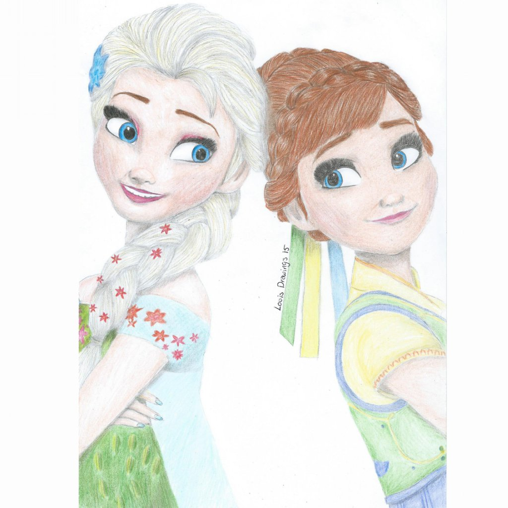 1024x1024 Elsa And Anna From Frozen Fever By Louisdrawings