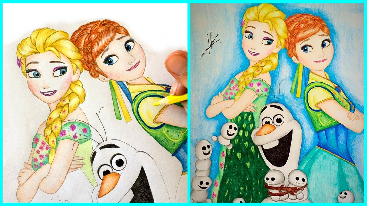 1280x720 Frozen Fever Drawing Elsa, Anna And Olaf