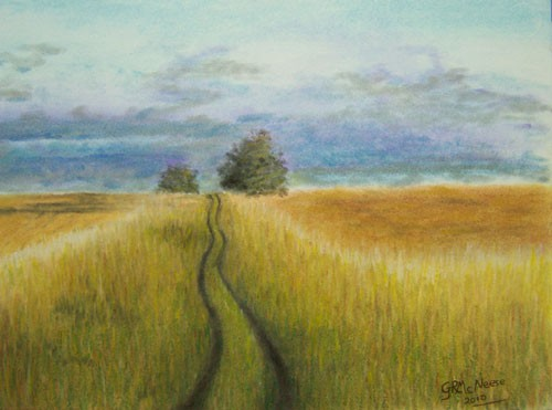 500x371 Original Pastel Landscape Drawing Of An Open Field With Winding