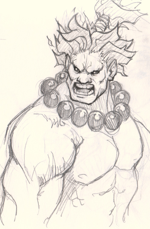 500x759 How To Draw Akuma From Street Fighter.