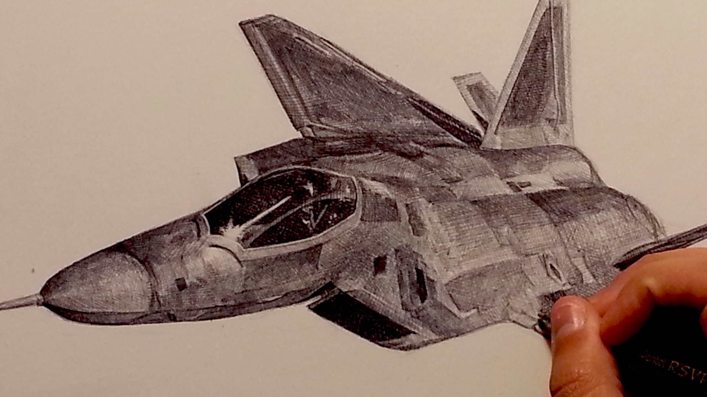 2393x1346 Drawing F 22 Raptor Fighter Aircraft With Ballpoint Pen