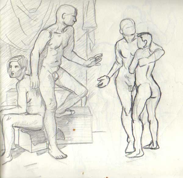 600x585 Figure Drawing Couple Estrella Vega