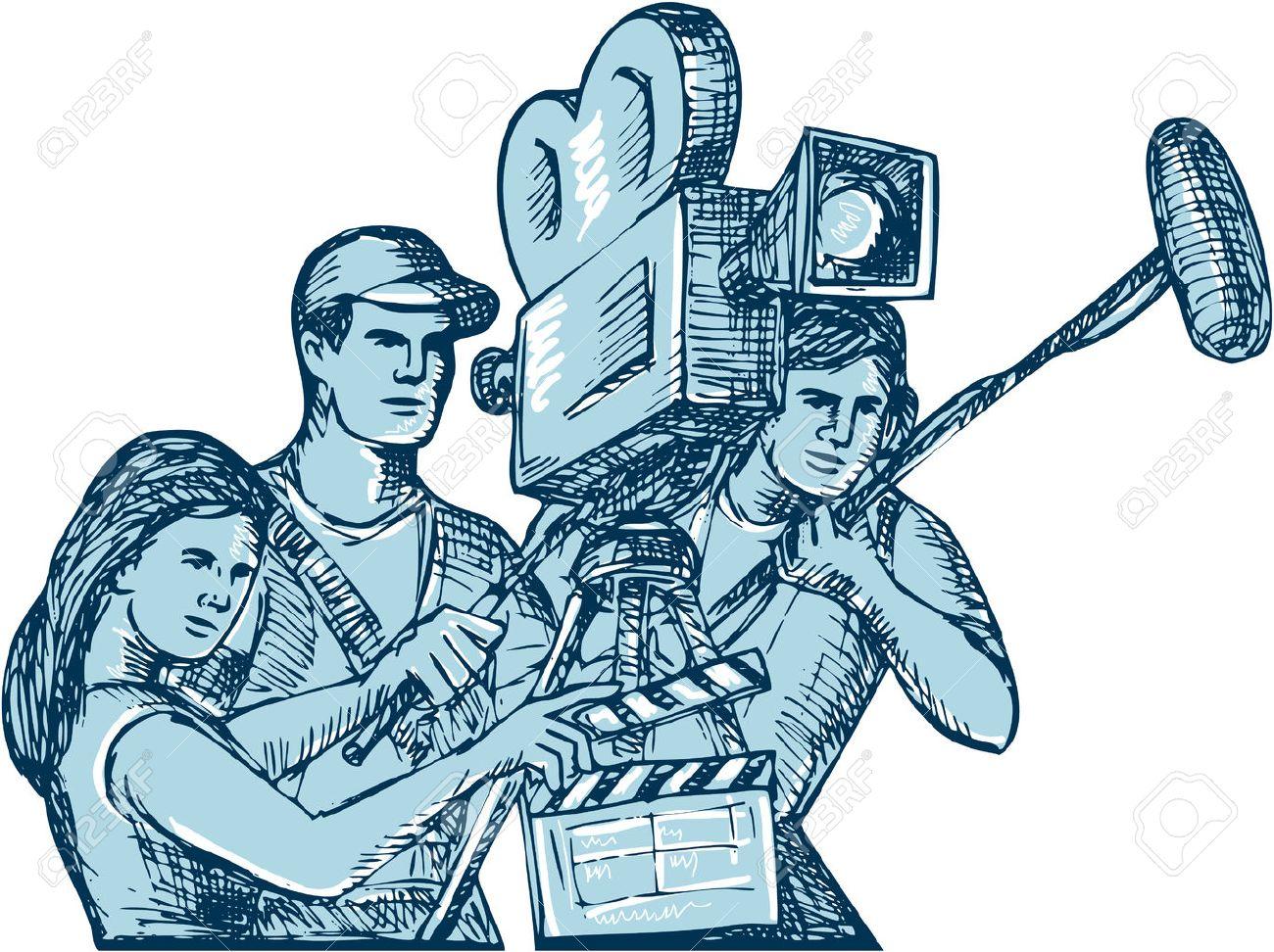 1300x972 Drawing Style Illustration Of A Film Crew Cameraman Soundman