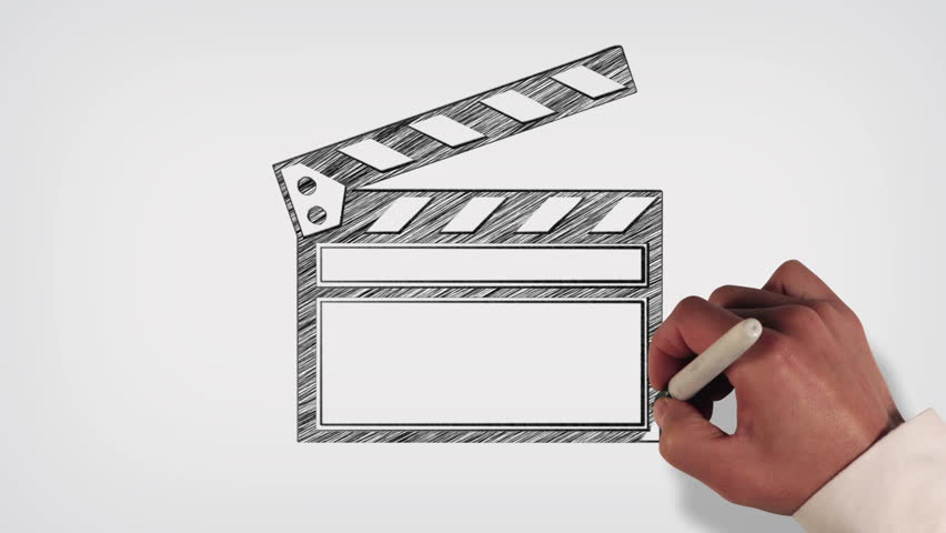 852x480 Hand Drawing A Clap Board Film Slate On Blueprint Paper Stock