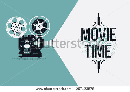450x320 Cool Retro Movie Projector Vector Detailed Poster, Leaflet