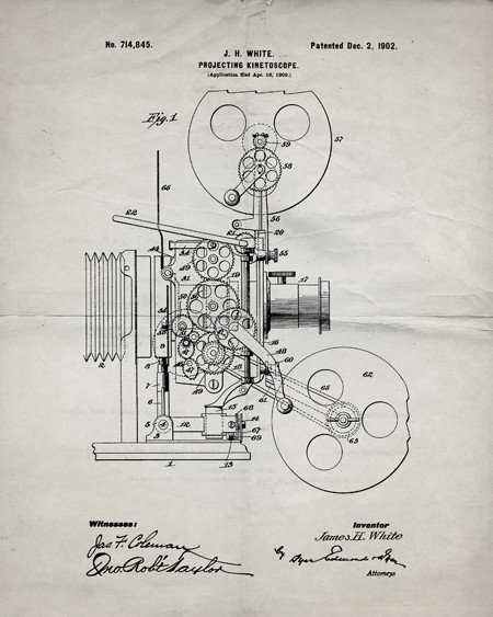 450x563 Vintage Film Projector Patent Print Films, Printing And Vintage