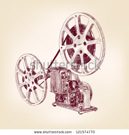 450x470 Old Film Projector Hand Drawn Vector Llustration Logo