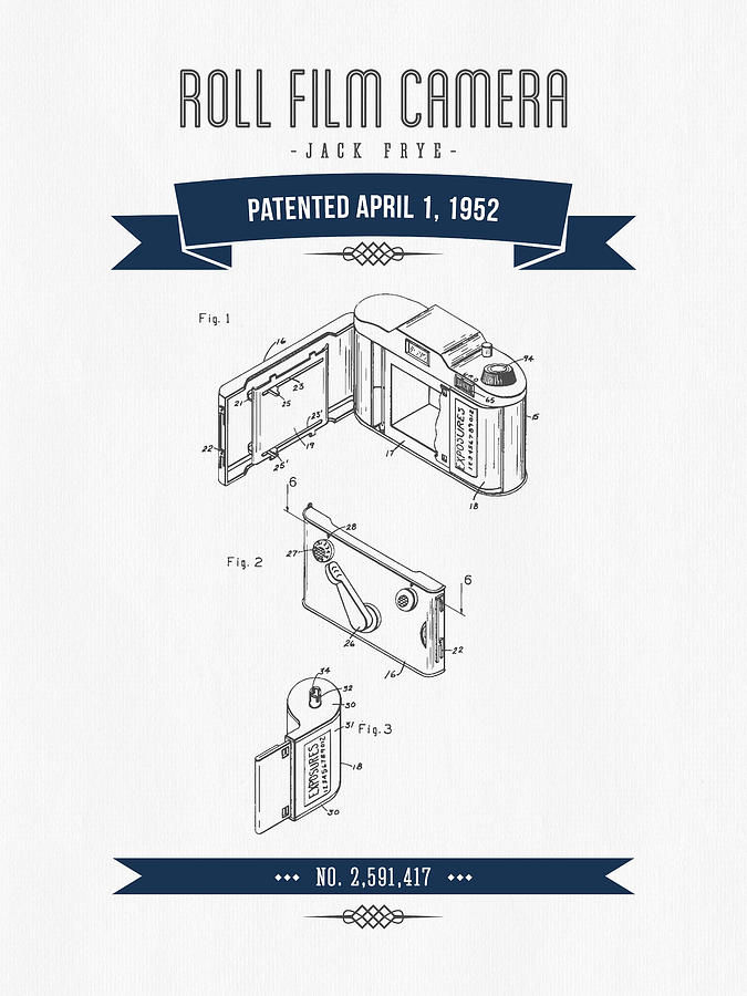 675x900 1952 Roll Film Camera Patent Drawing