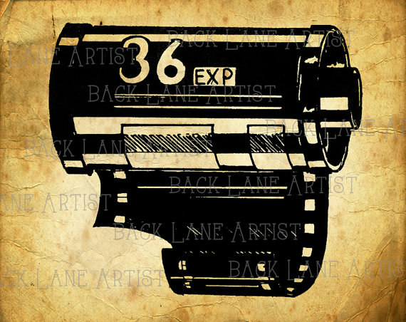 570x452 Vintage 35mm Camera Film Roll Clipart Lineart Illustration Instant