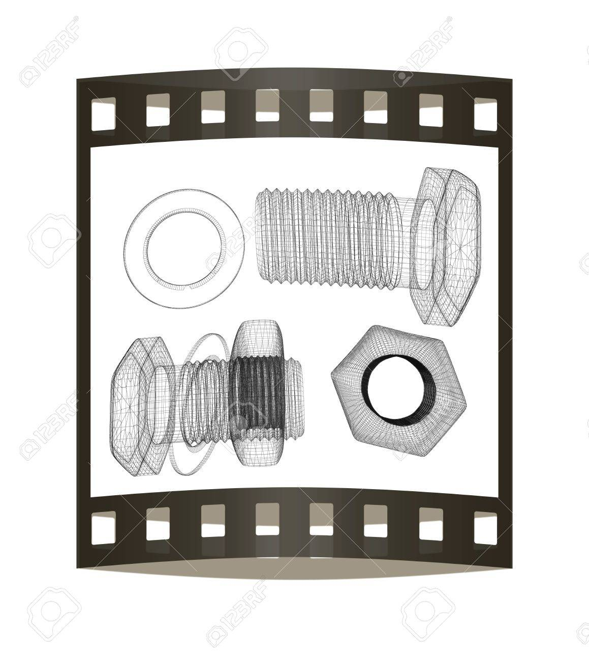1159x1300 Screws And Nuts Set. 3d Illustration. The Film Strip. Stock Photo