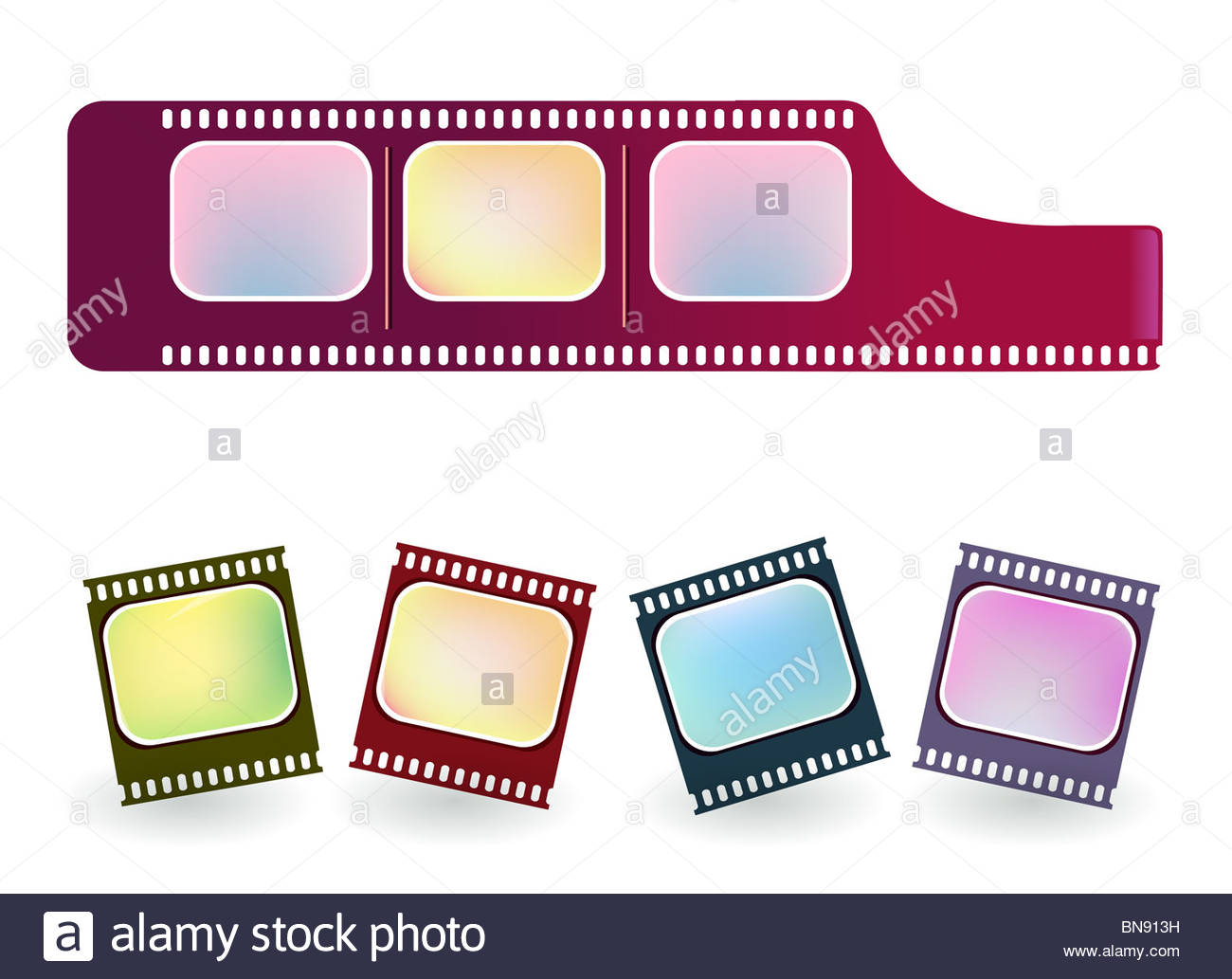 1300x1033 Illustration Drawing Of Old Negative Film Strip Stock Photo