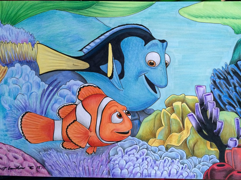 1024x768 Finding Nemo Dory And Marlin Drawing By Billyboyuk