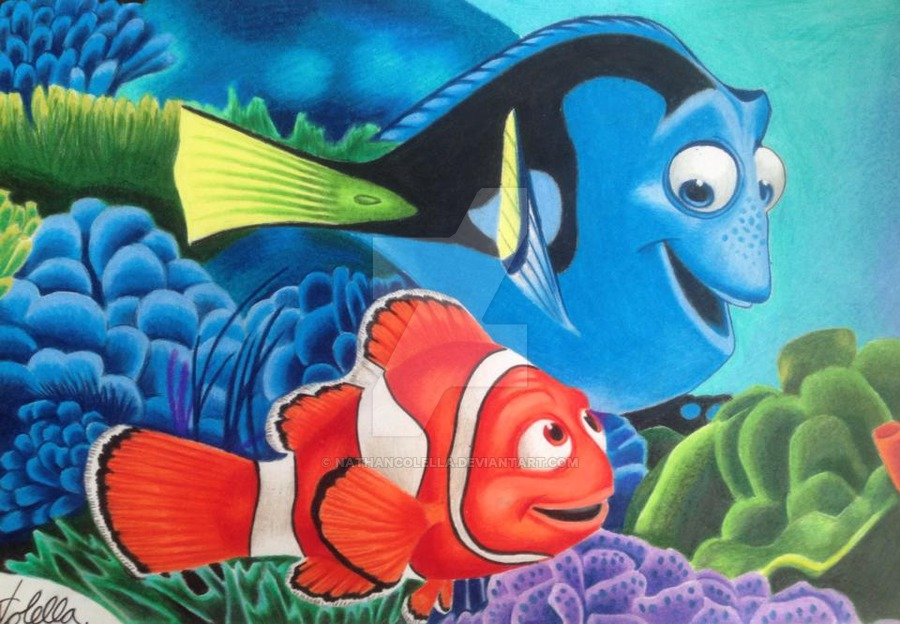 900x624 Finding Nemo Colour Pencil Drawing By Nathancolella